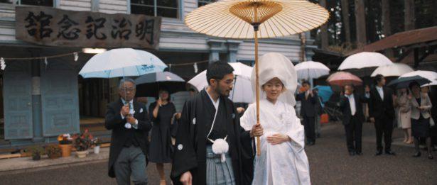 雨の中の参進